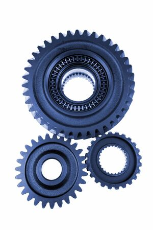 work path: Three gears meshing together over white Stock Photo