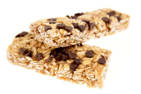Snack bars on white background photo
