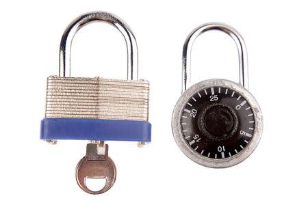 Two locks isolated on white background photo