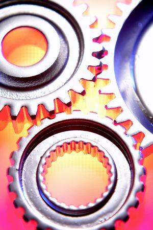 Closeup of three steel gears  photo