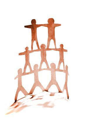 Human pyramid team on white background Stock Photo - 4965538
