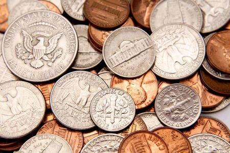 Closeup of assorted American coins Stock Photo - 5206399