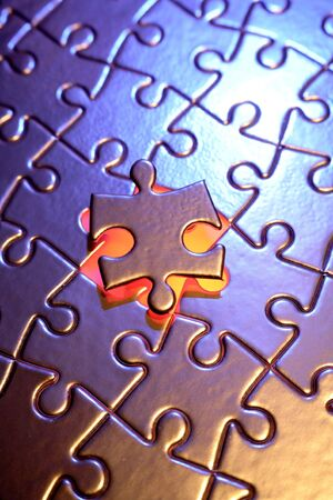 final piece of puzzle: Final piece of jigsaw puzzle Stock Photo
