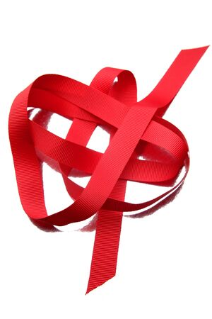 Red ribbon isolated on white photo