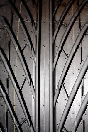 Closeup of rubber tire tread