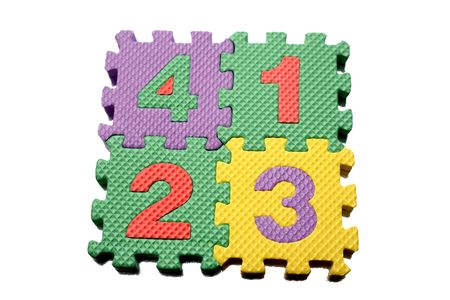Number learning blocks on white photo