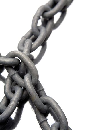 chainlinks: Steel chains over white background