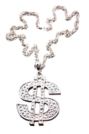 Silver dollar-symbol necklace on white photo