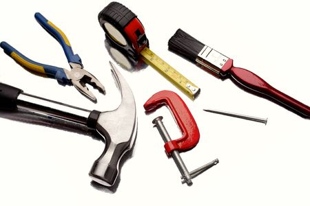 industrial tools: Work tools over white background Stock Photo