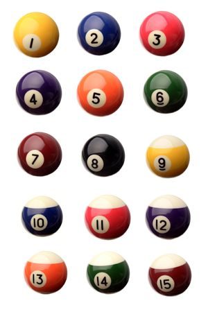 Pool balls over white background photo