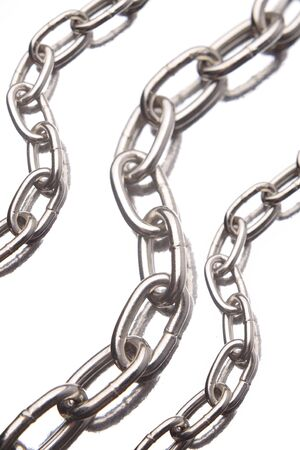 chainlinks: Three steel chains over white background Stock Photo