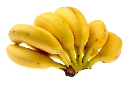 Bunch of ripe bananas isolated over white background photo