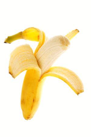 One peeled banana isolated over white background Stock Photo - 5378450
