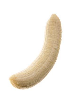 soyulmuş: Peeled banana isolated over white background