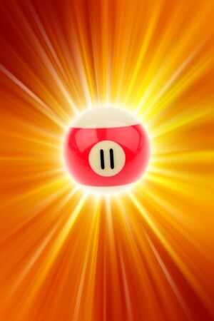number 11: Number eleven billiard ball on bright background