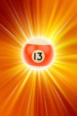 thirteen: Number thirteen billiard ball on bright background