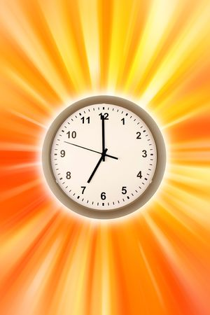 Clock on brightly colored background photo