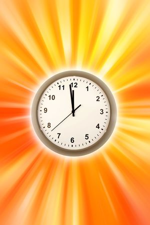 12 o'clock: Clock on brightly colored background