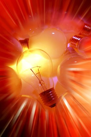 special effects: One bright light bulb special effects   Stock Photo