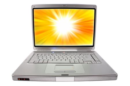 Laptop computer. Screen background also created by photographer.  photo