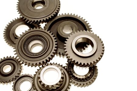 interlink: Steel gears over white background Stock Photo