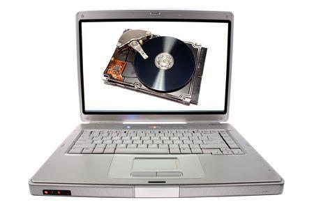 Hard drive on laptop computer screen  photo