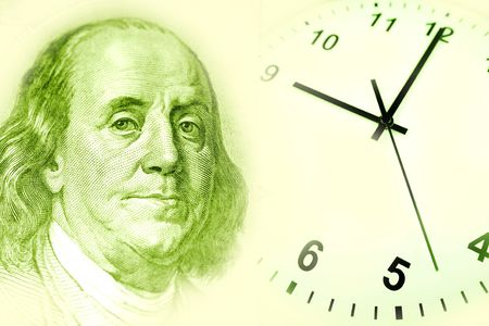 franklin: Benjamin Franklin and clock. Green tone