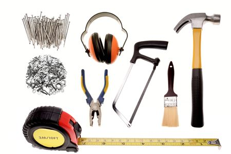 Assortment of work tools on white background    photo
