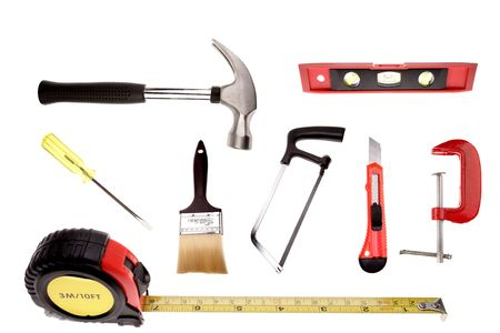 Assorted of work tools on white background    photo