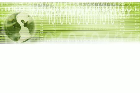 Binary codes and globe over white background Stock Photo - 5678182