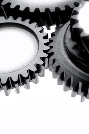 Close-up of steel gears on white    Stock Photo - 5702767