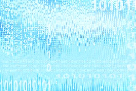 Binary coding on blue abstract background photo