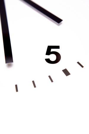 Clock face closeup. White background. photo