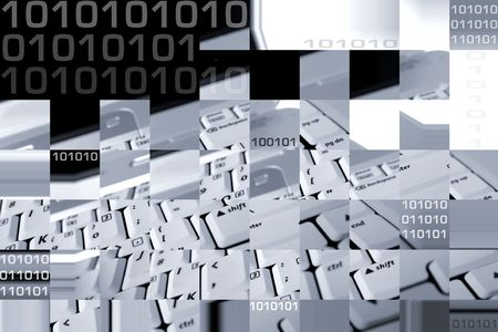 Abstract collage of comuter and binary codes Stock Photo - 5711861