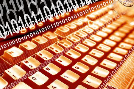 Computer keyboard and binary codes. Orange tone. Stock Photo - 5711862
