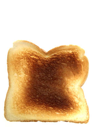 burnt toast: Piece of burnt toast isolated over white background
