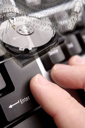 Computer hard drive, phone, binary codes and enter key on keyboard. Stock Photo - 5733480