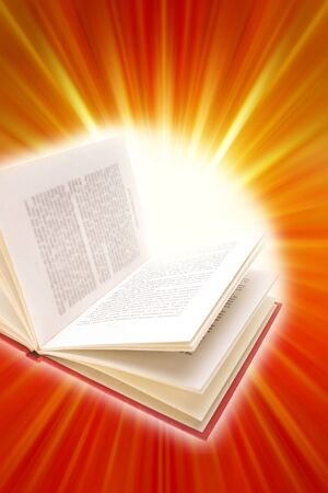 Open book on bright background. photo