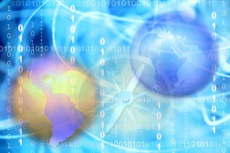 Two globes, compass and binary codes Stock Photo - 5733479