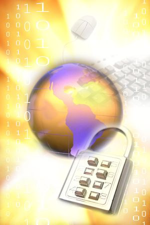 Globe, lock, computer mouse, binary codes Stock Photo - 5733474