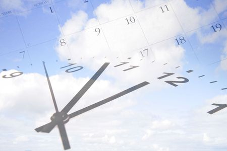 passing: Clock, calendar in blue sky.