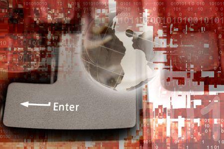 Enter key on computer keyboard, globe and binary codes. Stock Photo - 5749335