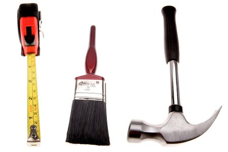 Three work tools isolated on white.    photo