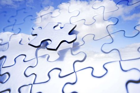 Last piece to complete puzzle. Blue sky. Stock Photo - 5832774