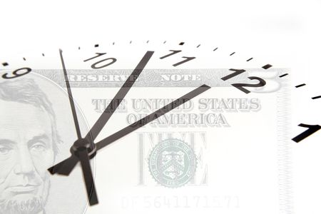five dollars: Time is money financial concept. Clock on U.S. five dollars.  Stock Photo