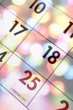 december calendar: Miscelazione calendario dicembre con brillanti luci di Natale Archivio Fotografico