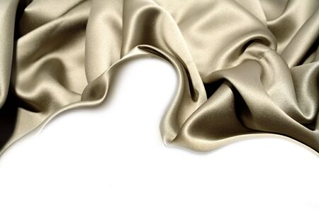 silky: Silk fabric on white background. Copy space