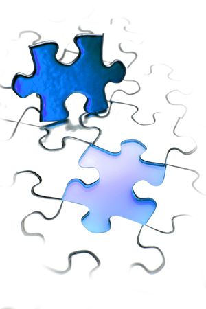Jigsaw puzzle piece next to gap. Blue tone. Copy space. photo