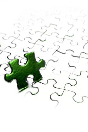 Jigsaw puzzle piece next to gap. Copy space. Stock Photo - 5832795