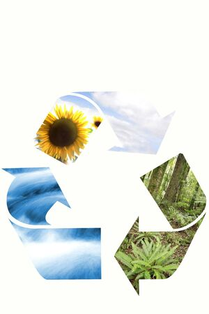 Recycling symbol on white background. Sky, water, earth. photo